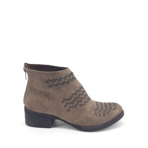 Not Rated Ankle Booties 7.5 Brown Woven Zip Back